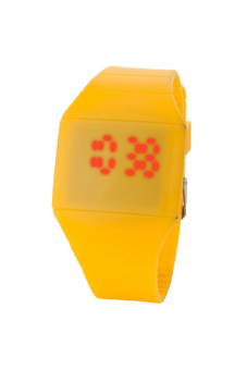 BODHI Mens Lady Touch Digital Red Led Silicone Sports Ultra-thin Wrist Watch (Yellow) (Intl)
