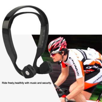 Bone Conduction Noise Reduction Headphone Wireless BluetoothOutdoor Sports Running Riding Earset Earphone Hands-free VoiceMusic Stereo with Mic Conduct Headset Earbud for IOS Android SmartPhone Mobile Cellphone Tablet - intl - 2