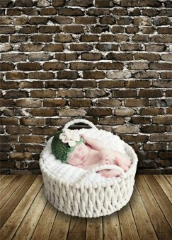 Brick Wall Photography Backdrops Photo Props Children Wooden FloorVinyl 150x210cm Photo Studio Stand Background for Baby (Intl)
