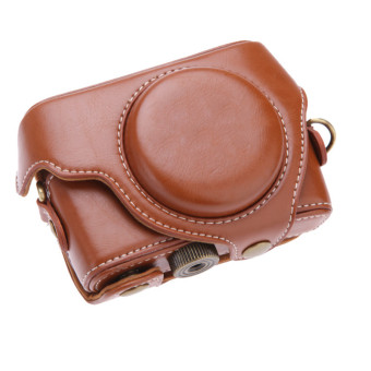 Brown PU Leather Camera Bag Case for Sony RX100 RX100M2 - 2