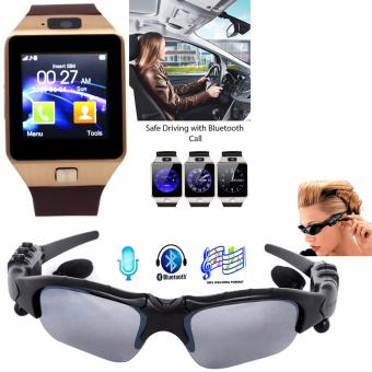 BTglasses THB368 Music Stereo Bluetooth Sun Glasses (Black) With M9Intelligent Phone Quad Smart Watch with Sim Card Slot (Gold/Brown)