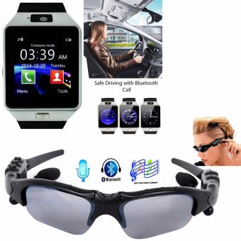 BTglasses THB368 Music Stereo Bluetooth Sun Glasses (Black) With M9Intelligent Phone Quad Smart Watch with Sim Card Slot(Black/Silver)