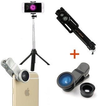 [Bundle] Play 3 In 1 Selfie Stick Monopod With Bluetooth Shutter And Build In Tripod (Black) + 3 in 1 Fish Eye Lens (Black) - intl