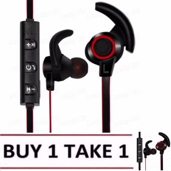 BUY 1 TAKE 1 LHR AMW-810 Bluetooth 4.1 Stereo Wireless In-EarSports Earphone With Microphone (Black/Red)