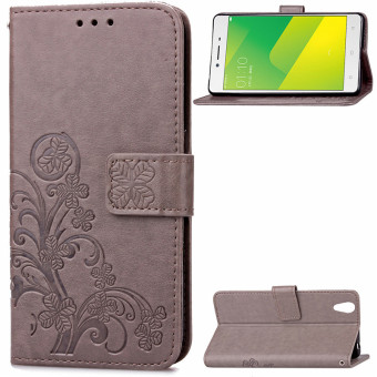 BYT Flower Debossed Leather Flip Cover Case for Oppo A37 (Grey)