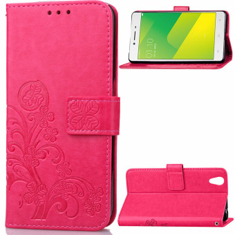 BYT Flower Debossed Leather Flip Cover Case for Oppo A37 (Red)
