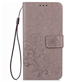BYT Flower Debossed Leather Flip Cover Case for Samsung Galaxy J7 2016 (Grey)