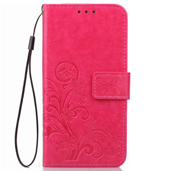 BYT Flower Debossed Leather Flip Cover Case for Samsung Galaxy J72016 (Red)