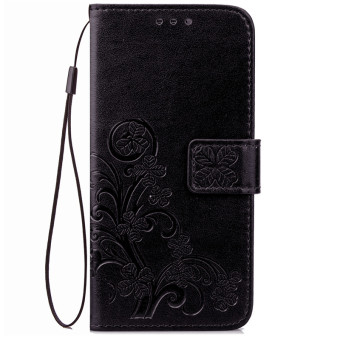BYT Flower Debossed Leather Flip Cover Case for Samsung Galaxy S7Edge (Black)