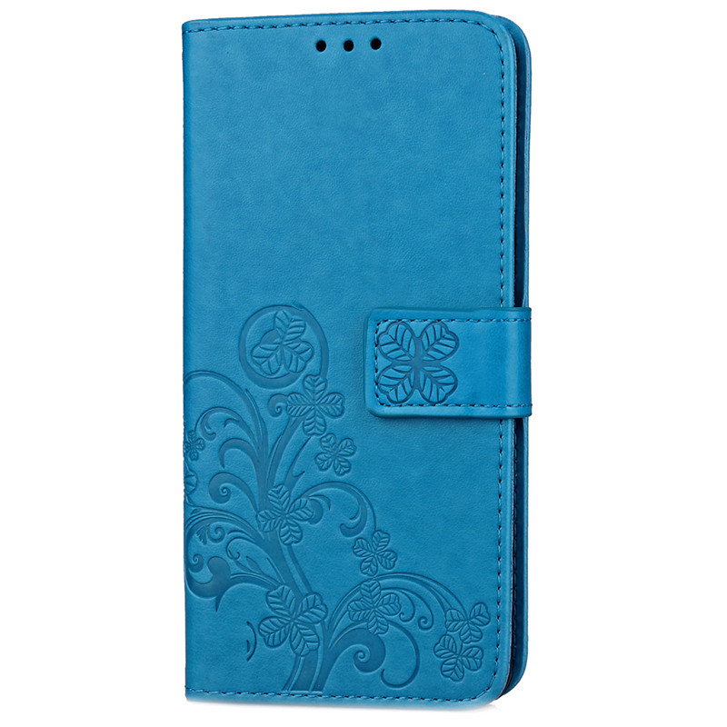 BYT Flower Debossed Leather Flip Cover Case for Samsung Galaxy S7Edge (Blue) .
