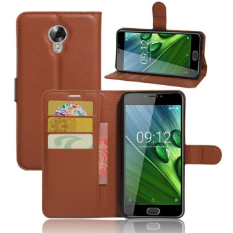 BYT Leather Flip Cover Case for Acer Liquid Z6 Plus (Brown)
