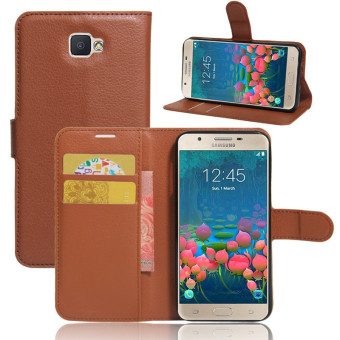 BYT Leather Flip Cover Case for Samsung Galaxy J5 Prime (Brown)