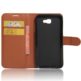BYT Leather Flip Cover Case for Samsung Galaxy J5 Prime (Brown) - 2