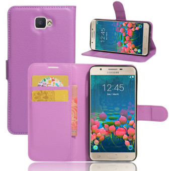 BYT Leather Flip Cover Case for Samsung Galaxy J5 Prime (Purple)