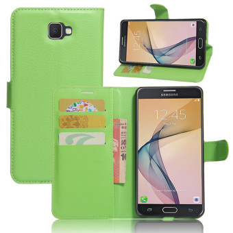 BYT Leather Flip Cover Case for Samsung Galaxy J7 Prime (Green)