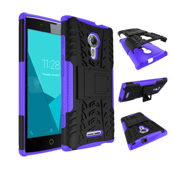 BYT Rugged Dazzle Case for Alcatel One Touch Flash 2 with Kickstand(Purple)