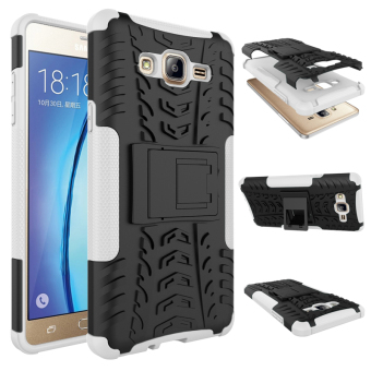 BYT Rugged Dazzle Case for Samsung Galaxy On 7 2016 with Kickstand(White)
