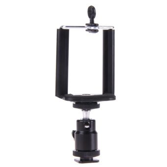 Camera Tripod Flash Bracket Mount 1/4 Adapter Ball Head with Phone Holder - intl