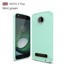 Carbon Fibre Brushed TPU Gel Case for Motorola Moto Z Play - Cyan -intl