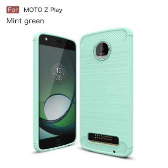 Carbon Fibre Brushed TPU Gel Case for Motorola Moto Z Play - Cyan -intl