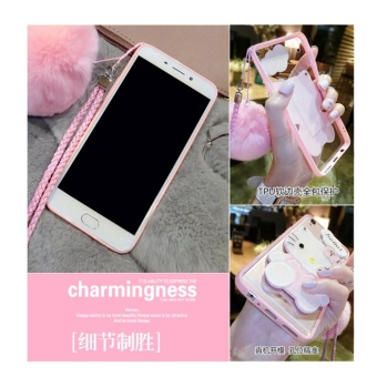 Cartoon cute mirror Case For OPPO A59/F1s(pink+Hair ball KT) - intl - 5