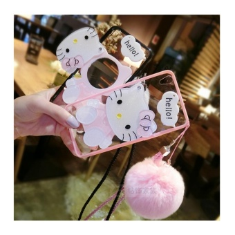 Cartoon cute mirror Case For OPPO A59/F1s(pink+Hair ball KT) - intl - 3