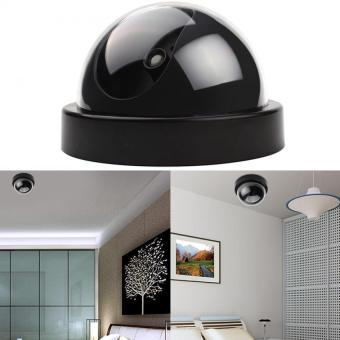 CCTV Dummy Fake Cameras LED Surveillance Dome Home Security Red Flashing Light (Black) - intl