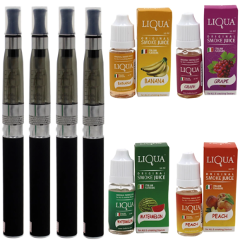 CE5 E-Cigarette Starter Kit with Liqua E-Juice (Assorted Flavor) Set of 4