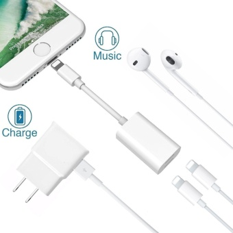 Cellphone For iPhone 7 / 7 Plus Adapter Splitter, Dual Lightning Headphone Audio and Charge Adapter For IOS 10.3 Color:White - intl