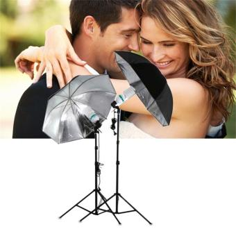 CHEER 83cm Studio Flash Light Grained Black Silver Umbrella Reflective Reflector