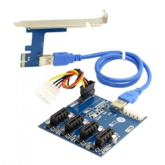 CHENYANG PCI-e Express 1x to 4 Port 1x Switch Multiplier SplitterHub Riser Card with USB 3.0 Cable - intl