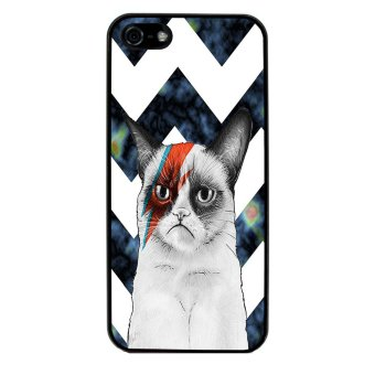 Chevron Grumpy Cat Pattern Phone Case for iPhone 5C (Black) - picture 2