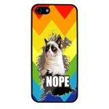 Chevron Grumpy Cat Pattern Phone Case for iPhone 5C (Black) - thumbnail 1