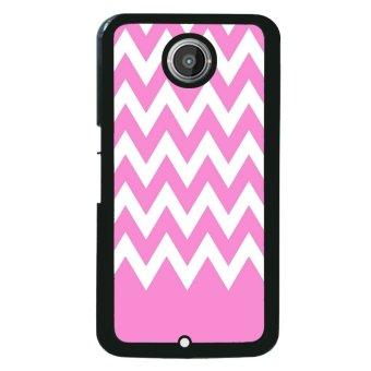 Chevron Pattern Phone Case for Motorola Nexus 6 (White/Pink)