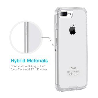CHOETECH Acrylic & Soft TPU Case Clear Hard Back Cover foriPhone 7 Plus (Clear) - 2