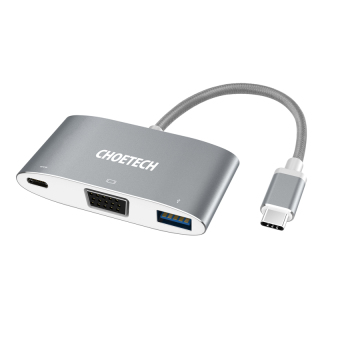 CHOETECH USB 3.1 Hub (Braided Cable) Type C to VGA 1080p Adapter - intl