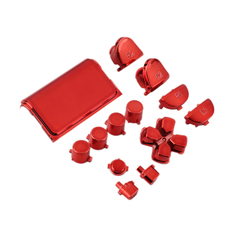 Chrome Button Replacement Mod Game Kit for Playstation 4 PS4 Controller (Red)- Intl
