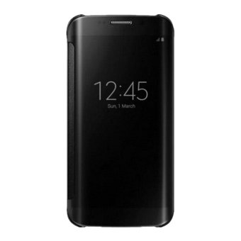 Clear Flip View Cover for Samsung Galaxy S7 Edge (Black) - 2