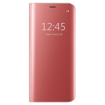 Clear View Flip Stand Case Cover For Samsung Galaxy J7 Prime RoseGold - intl