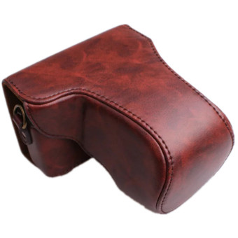 Coffee PU Leather Camera Case Bag for Canon EOS M10