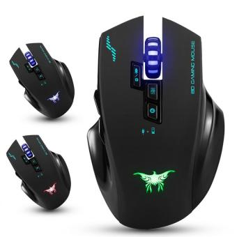Combatering W100 Rechargeable 2.4G Wireless Wired Gaming Mouse MiceOptical with 4 Adjustable DPI Levels,8 Buttons,3 Colors BreathingLights for PC and Mac(Green Light )