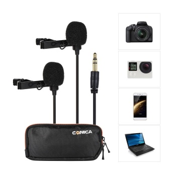 Comica CVM-D02 Dual-head Lavalier Lapel Microphone Clip-on Condenser Mic Cable Length 2.5m/8.2ft for Canon Nikon Sony A7 A6300 Camera for iPhone 6 6plus for GoPro Hero 4/3+/3 Action Camera for Interview Livestream Teaching Podcast - intl - 2
