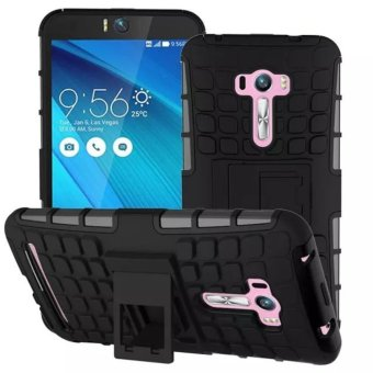 Compatible for Asus ZenFone Selfie Dual Layer 2 in 1 Rugged RubberHybrid Protective Armor Phone Cover Case with Kickstand VROOM -intl