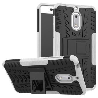 Compatible for Nokia 6 Dual Layer 2 in 1 Rugged Rubber HybridProtective Armor Phone Cover Case with Kickstand VROOM - intl