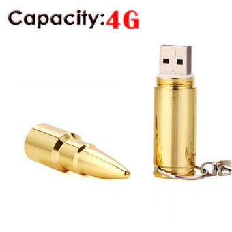 Cool Bullet Shaped 4GB USB 2.0 Flash Drive with Keychain