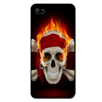 Cool Skull on Fire Pattern Case for iPhone 4/4S (Black)