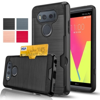 Credit Card Slots Holder Hard Plastic PC TPU Soft Hybrid ShockproofHeavy Duty Protective Holster Cover Case for LG V20 - intl