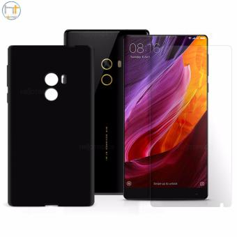 Crystal Clear Tempered Glass w/ Jelly Case (Black) for Xiaomi MI Mix