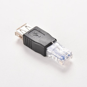 Crystal Head RJ45 Male to USB 2.0 AF A Female Adapter ConnectorLaptop LAN Network Cable Ethernet Converter Transverter Plug - intl