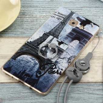 Cute Pattern Soft TPU Bumper Case Cover for Samsung Galaxy C9 ProFlexible with Ring Grip/Stand Holder and Wrist Strap